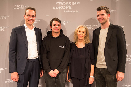 CE19 - Award Ceremony // Alexander Fischbacher (THE GRAND POST), Joachim Iseni (Winner Local Artist - Crossing Europe Award), Christine Dollhofer (Festival Director), Marco Zinz (THE GRAND POST) //photo © Christoph Thorwartl / subtext.at