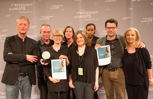 CE19 - Award Ceremony: Ralph Eue (jury member), Thomas Heise (Award Winner), Anna Eborn (Special Mention), Wiltrud Katharina Hackl (gfk Gesellschaft für Kulturpolitik OÖ), Oksana Sarkisova (jury member), Djamila Grandits (jury member), Nebojsa Slijepcevic