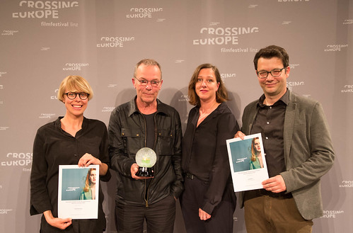 CE19 - Award Ceremony // Anna Eborn (Special Mention Best Documentary), Winner Thomas Heise, Wiltrud Katharina Hackl (gfk gesellschaft für Kulturpolitik OÖ), Nebojša Slijepčevic (Special Mention Best Documentary) // photo © Christoph Thorwartl /