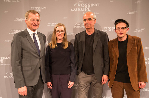 CE19 - Award Ceremony: Thomas Stelzer (governor of Upper Austria), Katharina Weinberger-Lootsma (jury member), Martin Sturm (artistic director OÖ Kulturquartier), Sebastian Markt (jury member)  // photo © Christoph Thorwartl / subtext.at
