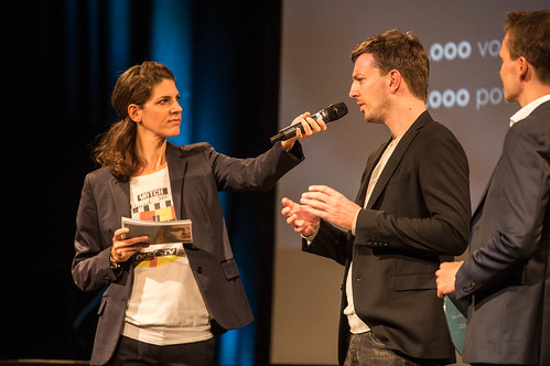 CE19 - Award Ceremony // Moderator Karin Schmid, Marco Zinz (THE GRAND POST), Alexander Fischbacher (THE GRAND POST) // photo © Christoph Thorwartl / subtext.at