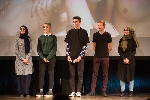 CE19 - Award Ceremony // YAAAS! youth jury (Helin Bingöl, Marlene Estermann, Umut Sarikaya, Jonah Mitter, Nefise Gül) // photo © Christoph Thorwartl / subtext.at