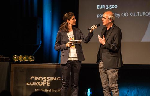 CE19 - Award Ceremony // Moderator Karin Schmid, Martin Sturm (OÖ Cultural Quarter) // photo © Christoph Thorwartl / subtext.at