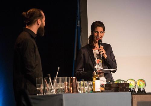 CE19 - Award Ceremony // Florian Hackl (Bar Mezzanin), Moderator Karin Schmid // photo © Christoph Thorwartl / subtext.at