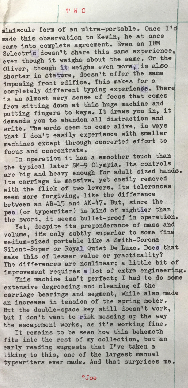 Maquina de Escribir Gigante, Part 2