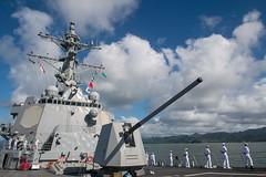 Sailors man the rails as USS Stockdale (DDG 106) arrives in Suva, April 30. (U.S. Navy/MC2 Abigayle Lutz)