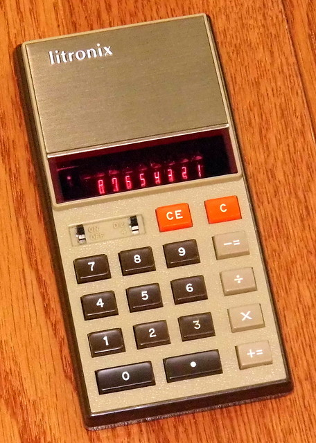 Vintage Litronix Electronic Pocket Calculator, Model 1100, Red LED 8-Digit Display, Assembled In Malaysia, Circa 1973