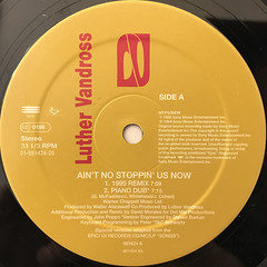 LUTHER VANDROSS:AIN'T NO STOPPIN' US NOW(LABEL SIDE-A)