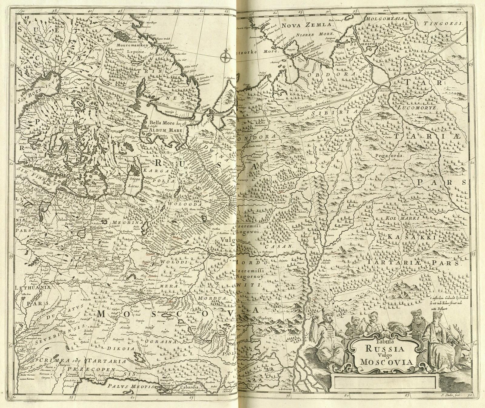 1680. Карта России обычно называемой Московия, Фредерик де Гилье, Ян Вит, Амстердам.