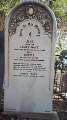 Jane Waye, nee Welchford, headstone. St Stephen's cemetery Willunga