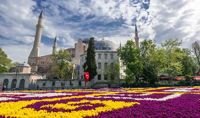 Hagia Sophia ( Ayasofya ) Tulips Festival Istanbul  2019