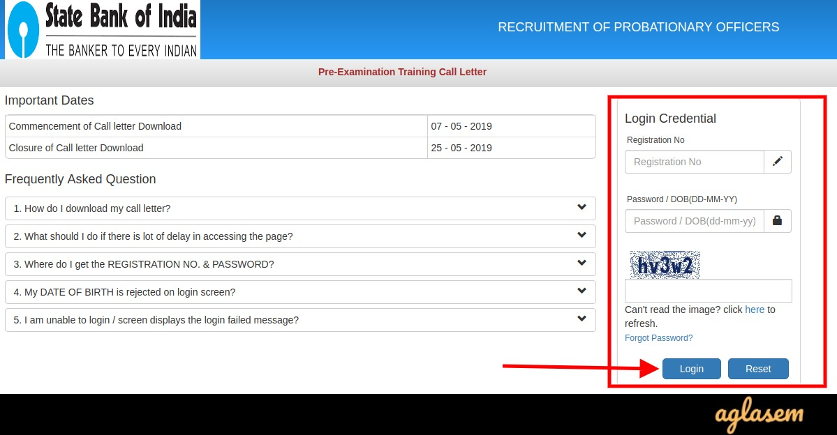 SBI PO Admit Card 2019 For Pre Examination Training