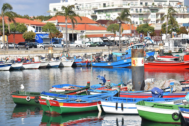 Harbour with fish restaurants at rear, Setubal, Portugal