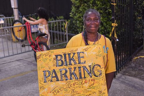 Bike Parking sign at Jazz Fest 2019 day 8 on May 5, 2019. Photo by Ryan Hodgson-Rigsbee RHRphoto.com
