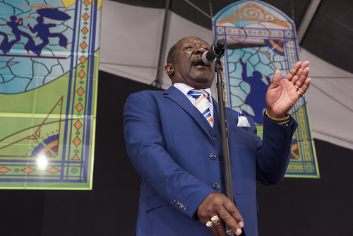 The Electrifying Crown Seekers perform at the Gospel Tent during Jazz Fest 2019 day 8 on May 5, 2019. Photo by Ryan Hodgson-Rigsbee RHRphoto.com
