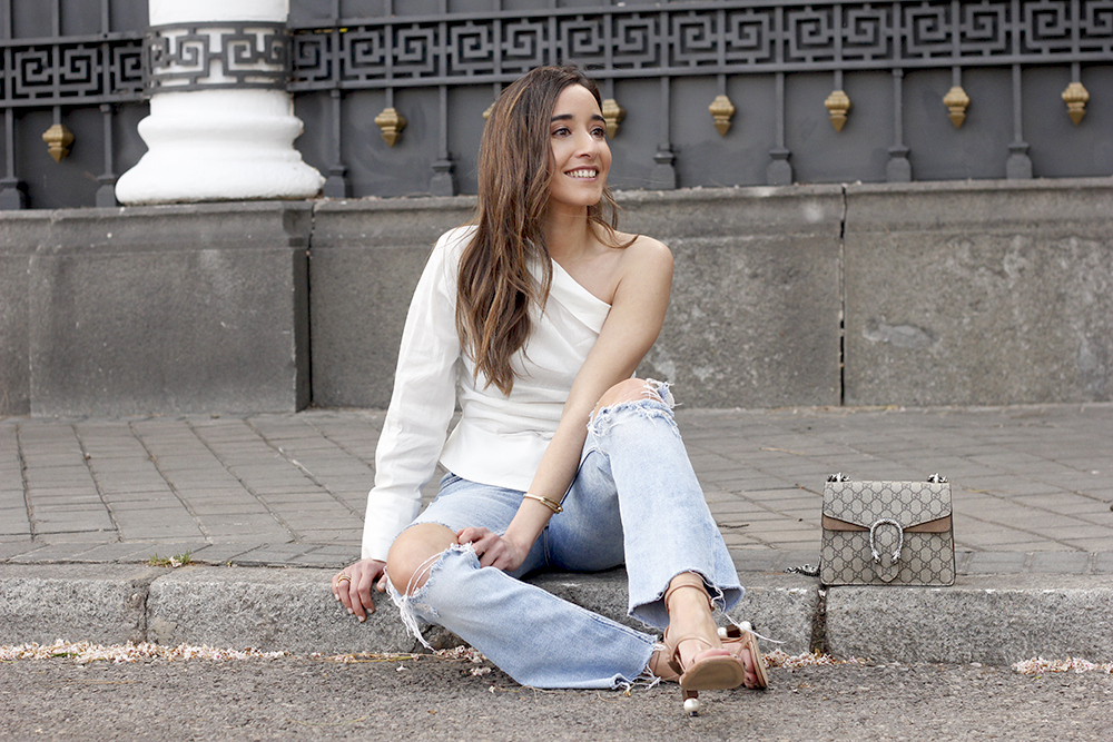 White Asymmetrical Linen Top jeans gucci bag street style outfit 20198