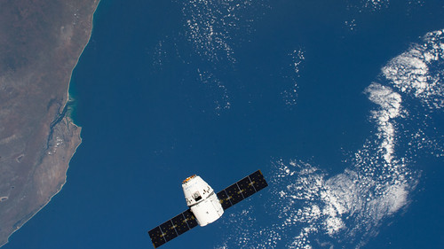 The SpaceX Dragon above the coast of Mozambique | by NASA Johnson