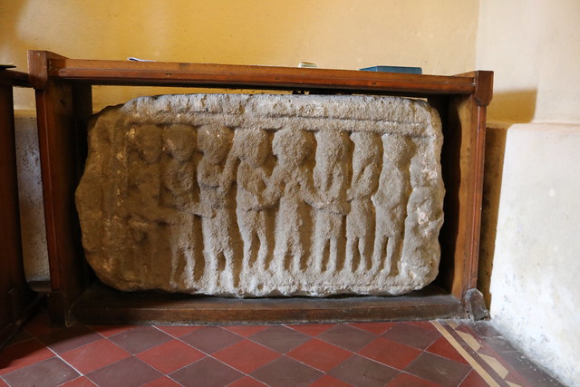 Early Christian sculpture of the arrest of Jesus in the Garden of Gethsemane, St Eunan's Cathedral, Raphoe.