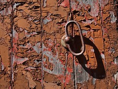 Weathered door, rusty handle - abandoned horse barn, Scotsdale Farm, Halton Hills, Ontario.