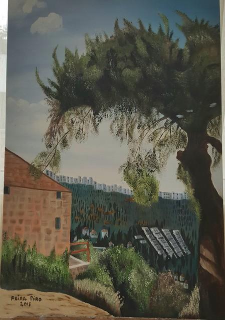 נוף ממבשרת ציון אל הר נוף ירושלים בית זית פרידה פירו ציירת אמנית ישראלית אמניות ציירות ריאליסטי