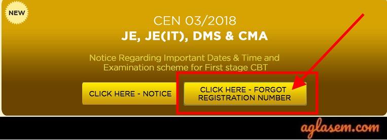 RRB JE Forgot Registration Number Link 2019