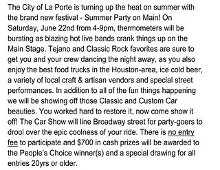 06-22-2019 City Of La Porte Summer Party Letter | by Camaro Kid Car Show Listings