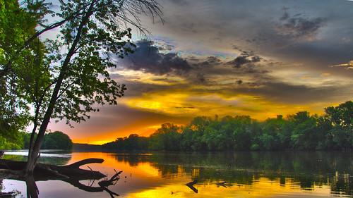 river sunrise sunset colors clouds storm rain reflection water