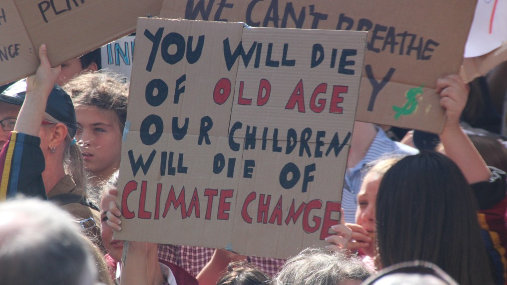 Young people protesting against climate change in Melbourne