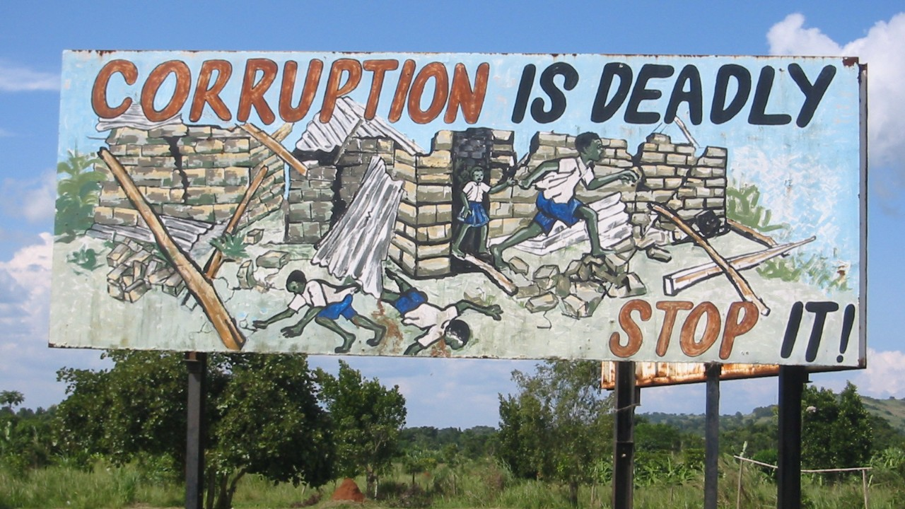 Anti-corruption sign in Uganda