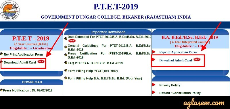 PTET Admit Card 2019
