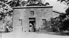 Police Officer with police horse 'Envoy' at the Stables, Willunga Police Station, 26th January 1920.