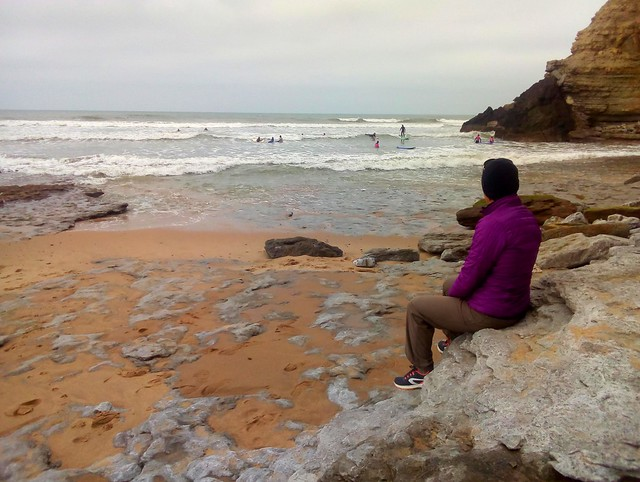 Watching the surfers.  I think this (Ribeira d'Ilhas) is the most beginner area at Ericeira. by bryandkeith on flickr