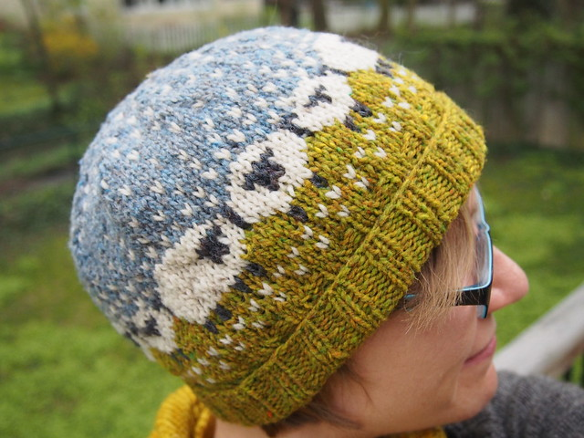 Finished (but unblocked) Baa-ble hat!