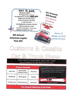 05-18-2019 4th Annual American Legion Post 291 Flyer   by Camaro Kid Car Show Listings