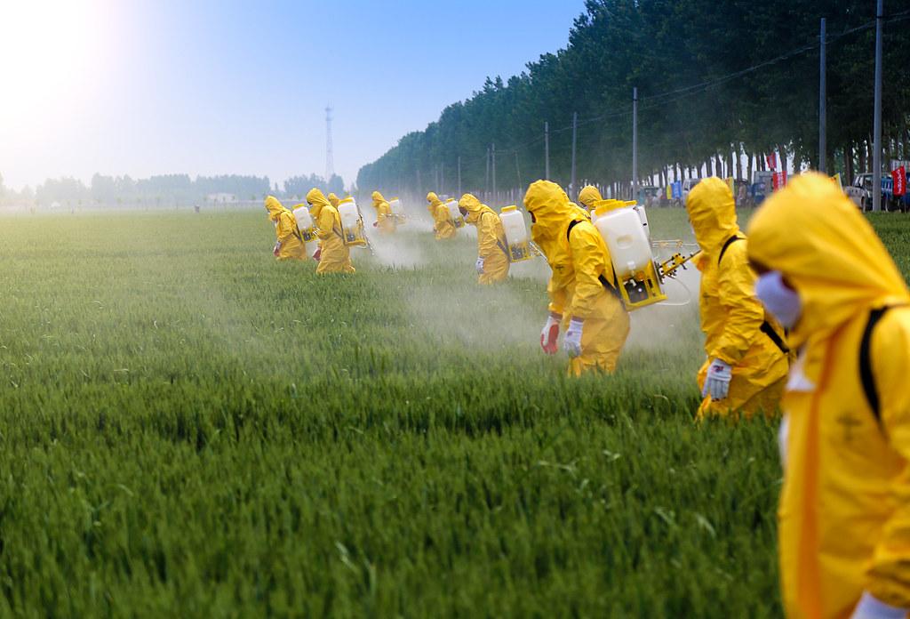 農夫穿著防護裝備噴灑農藥。 來源:Jinning Li/Shutterstock.com 圖片由IPBES提供。