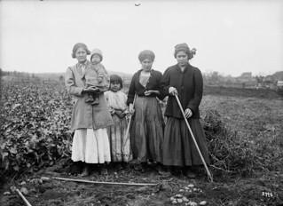 First Nations women with a young girl and an infant in a potato field, Woodstock, New Brunswick / Femmes des Premières Nations avec une jeune fille et un nourrisson dans un champ de pommes de terre, Woodstock, Nouveau-Brunswick