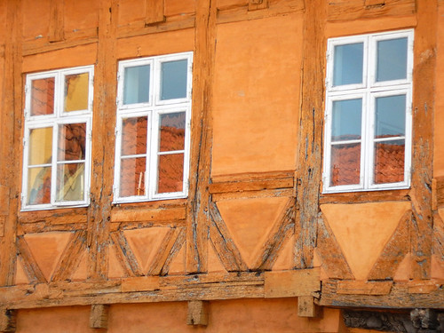 Half-timbered yellow-orange house in Koge, Denmark