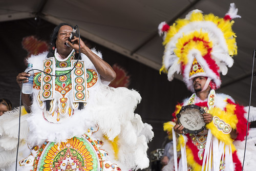 Big Chief Kevin Goodman & the Flaming Arrows Black Indians of Mardi Gras at Jazz Fest day 6 on May 3, 2019. Photo by Ryan Hodgson-Rigsbee RHRphoto.com