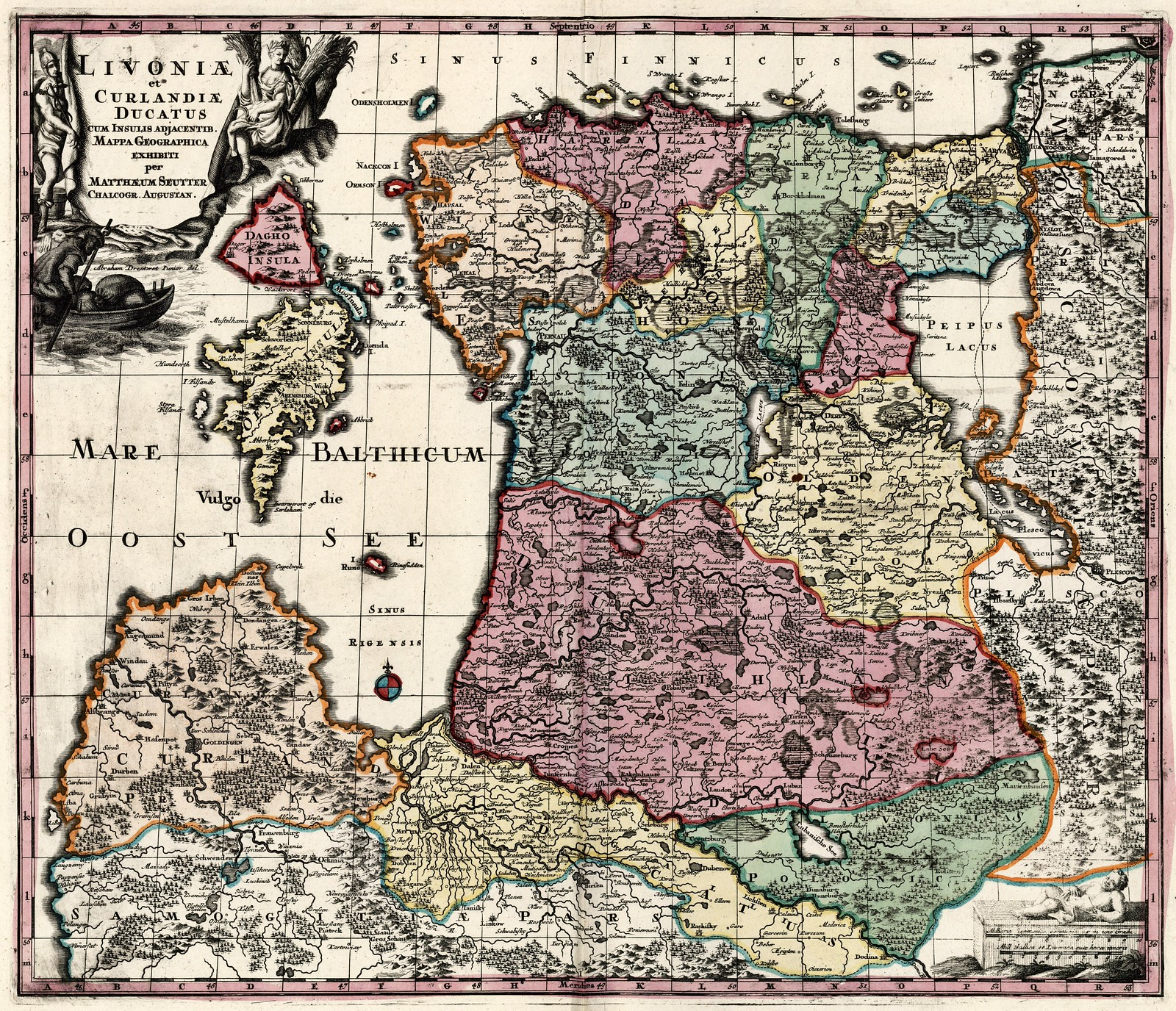1725-1745. Карта Ливонии и Курляндии