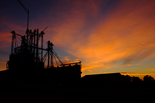 industry architecture dawn sunrise orange purple blue agriculture texas