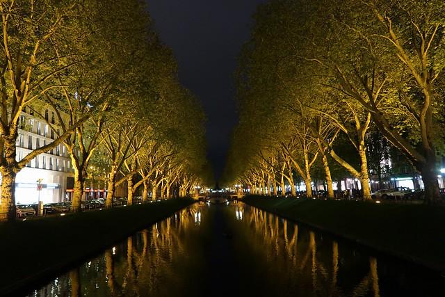 Königsallee at night, Düsseldorf