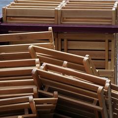 Folded chairs in Jerez de La Frontera