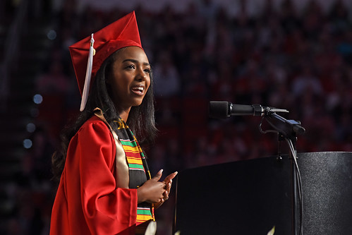 Student speaker Ruhama Wolle delivers her address at commencement.