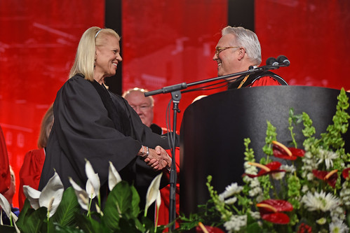 Chancellor Randy Woodson (right) congratulates IBM CEO Ginni Rometty on her honorary doctorate degree.