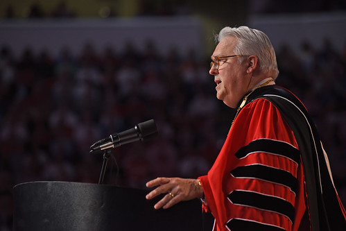 Chancellor Randy Woodson welcomes everyone to PNC Arena for commencement.