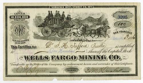 1876 Wells Fargo Mining Co. Stock Certificate