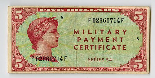 $5 Series 541 Military Payment Certificate