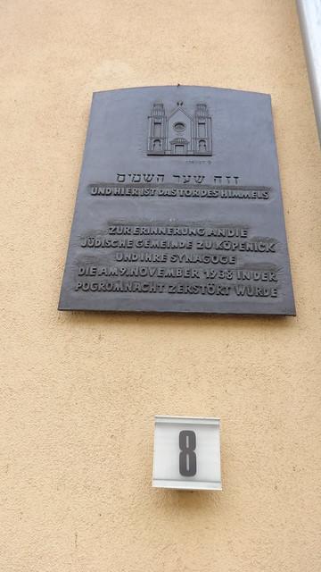 1993 Berlin Gedenktafel Synagoge der jüdischen Gemeinde zu Köpenick Freiheit 8 in 12555 Köpenick