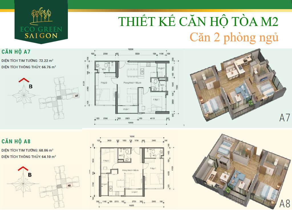 Mặt bằng căn hộ A7-A8 loại 2 phòng ngủ, tòa tháp M2 dự án Eco-Green Sài Gòn quận 7.