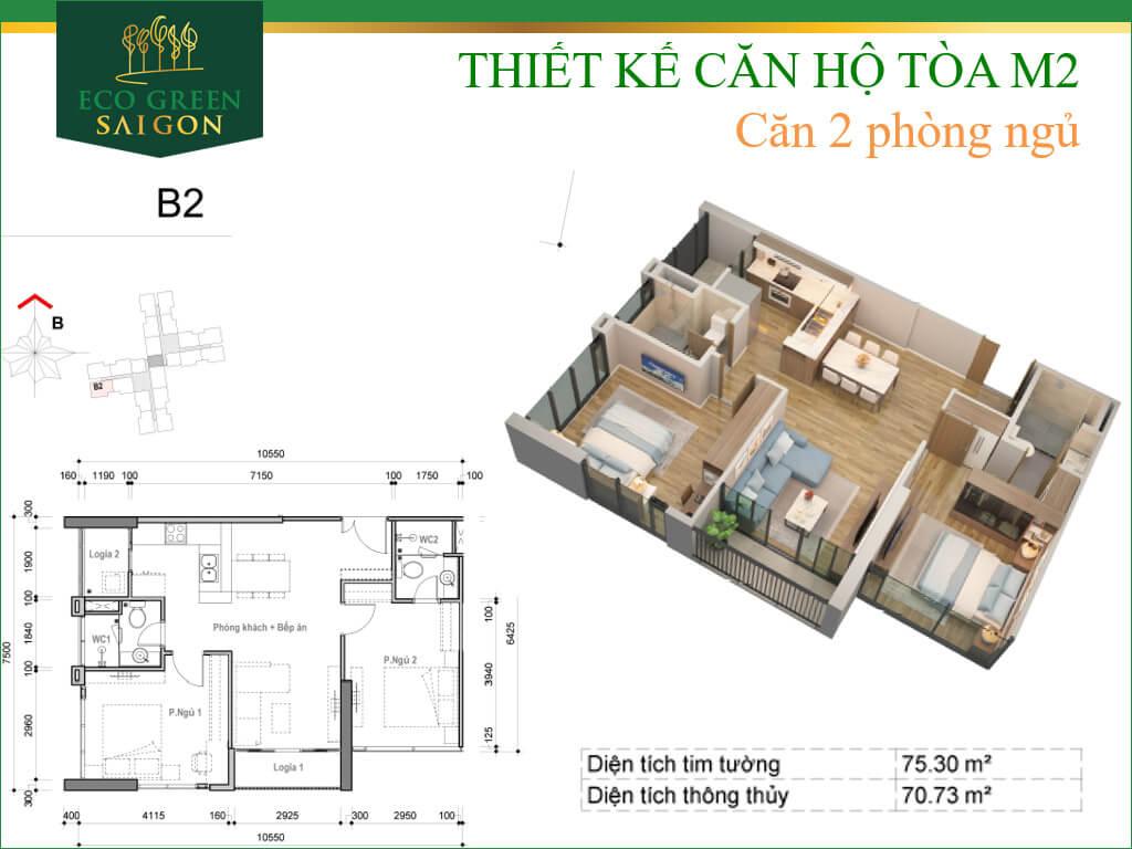Mặt bằng căn hộ B2, loại 2 phòng ngủ, tòa tháp M2 dự án Eco-Green Sài Gòn quận 7.